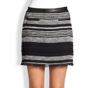 Rebecca Taylor Frayed Leather Trim Twill Skirt